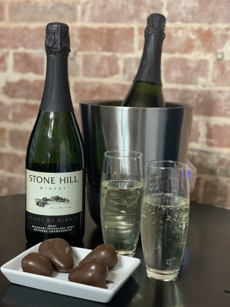 Romance Package with Champagne, Chocolate Covered Strawberries, and Single Red Rose